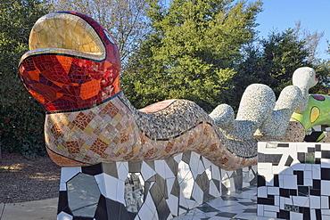 Snake wall, concrete sculpture with mosaics, Queen Califa's Magical Circle, late work of the French sculptor Niki de Saint Phalle, Kit Carson Park, Escondido in San Diego, California, USA, PublicGround