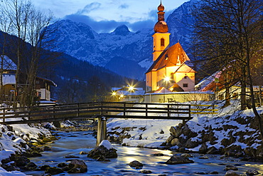 Evening mood, Parish Church of St. Sebastian in Ramsau, Berchtesgadener Land, Bavaria, Germany, Europe