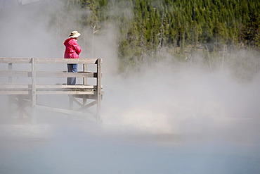 Tourist on a boardwalk amidst the steam of the springs and geysers, Black Sand Basin, Upper Geyser Basin, Yellowstone National Park, Wyoming, United States of America, USA