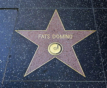 Terrazzo star for the musician Fats Domino, music category, Walk of Fame, Hollywood Boulevard, Hollywood, Los Angeles, California, United States of America, USA, PublicGround