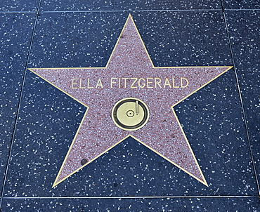 Terrazzo star for the singer Ella Fitzgerald, film category, Walk of Fame, Hollywood Boulevard, Hollywood, Los Angeles, California, United States of America, USA, PublicGround