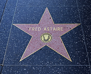 Terrazzo star for artist Fred Astaire, film category, Walk of Fame, Hollywood Boulevard, Hollywood, Los Angeles, California, United States of America, USA, PublicGround