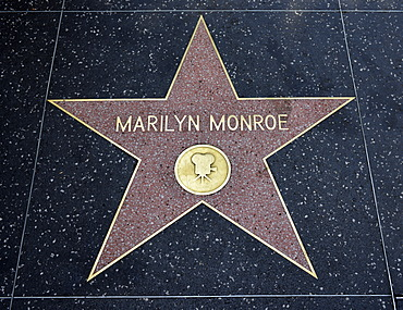 Terrazzo star for actress Marilyn Monroe, film category, Walk of Fame, Hollywood Boulevard, Hollywood, Los Angeles, California, United States of America, USA, PublicGround