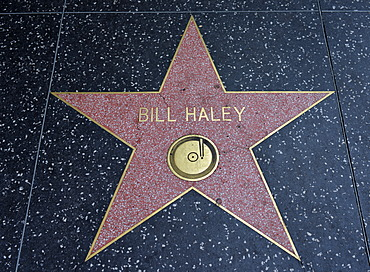 Terrazzo star for the artist Bill Haley, music category, Walk of Fame, Hollywood Boulevard, Hollywood, Los Angeles, California, United States of America, USA, PublicGround