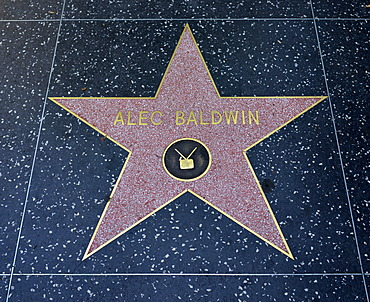 Terrazzo star for the artist Alec Baldwin, television category, Walk of Fame, Hollywood Boulevard, Hollywood, Los Angeles, California, United States of America, USA, PublicGround