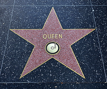 Terrazzo star for the band Queen, music category, Walk of Fame, Hollywood Boulevard, Hollywood, Los Angeles, California, United States of America, USA, PublicGround