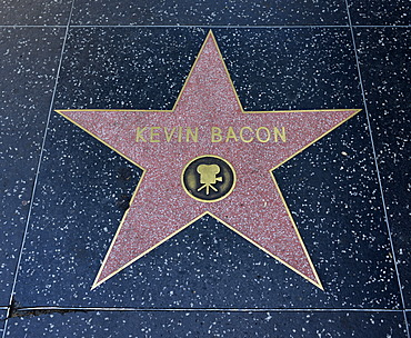 Terrazzo star for the artist Kevin Bacon, film category, Walk of Fame, Hollywood Boulevard, Hollywood, Los Angeles, California, United States of America, USA, PublicGround