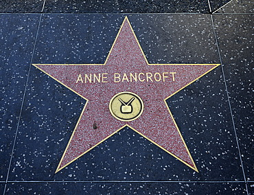 Terrazzo star for the artist Anne Bancroft, television category, Walk of Fame, Hollywood Boulevard, Hollywood, Los Angeles, California, United States of America, USA, PublicGround
