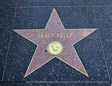 Terrazzo star for Grace Kelly, film category, Walk of Fame, Hollywood Boulevard, Hollywood, Los Angeles, California, United States of America, USA, PublicGround