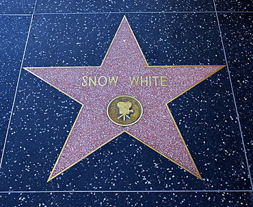 Terrazzo star for Snow White, film category, Walk of Fame, Hollywood Boulevard, Hollywood, Los Angeles, California, United States of America, USA, PublicGround