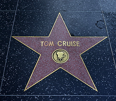 Terrazzo star for Tom Cruise, film category, Walk of Fame, Hollywood Boulevard, Hollywood, Los Angeles, California, United States of America, USA, PublicGround