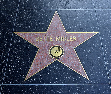 Terrazzo star for Bette Midler, music category, Walk of Fame, Hollywood Boulevard, Hollywood, Los Angeles, California, United States of America, USA, PublicGround