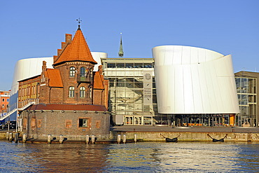 Port Authority, Ozeaneum, old port of Stralsund, UNESCO World Heritage Site, Mecklenburg-Western Pomerania, Germany, Europe, PublicGround
