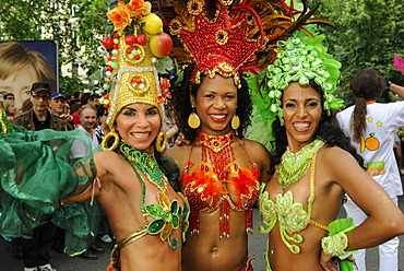 3 Brazilian Samba dancers, Carnival of Cultures, annual internationally known colourful street parade at Whitsun with about 100 groups and floats taking part, Kreuzberg, Berlin, Germany, Europe