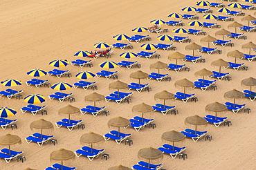 Sunloungers and sunshades, Albufeira, Praia Dos Pescadores, Algarve, Portugal, Europe