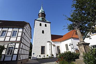 Small village church in Schledehausen-Bissendorf, Osnabruecker Land region, Lower Saxony, Germany, Europe