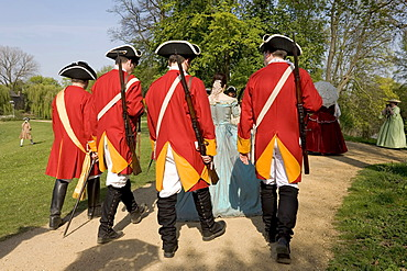 Men wearing Prussian infantry uniform, members of the community of interests for historical performance of the 18th century, moated castle Linn, Krefeld, NRW, Germany