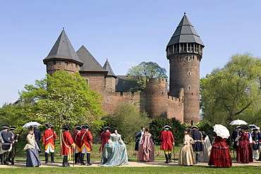 Get together of the community of interests for historical performance of the 18th century, moated castle Linn, Krefeld, NRW, Germany