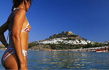 Beach, Lindos, Rhodes, Dodecanese Islands, Greece
