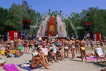 Coca Cola Beach in Siofok at Lake Balaton, Hungary, Europe