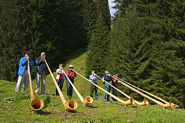Alphorn blowers at Max's Huette alpine hut at Mittelberg, Kleinwalsertal, Allgaeu, Vorarlberg, Austria, Europe