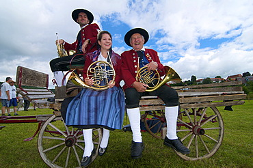Musicians in the farm museum in Wolfegg, Upper Swabia, Allgaeu, Baden-Wuerttemberg, Germany, Europe