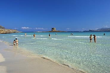 Beach, Torre della Pelosa, coastal defence tower, Stintino, Sardinia, Italy, Europe