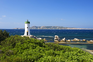 Beach of Porto Faro with the lighthouse on cape Capo d'Orso, Sardinia, Italy, Europe