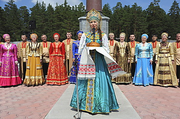 Obelisk marking the border between Europe and Asia, performance of a Russian dance company, bread as a symbol of hospitality, Yekaterinburg, Jekaterinburg, Sverdlovsk, Ural mountains, Taiga forest, Russia