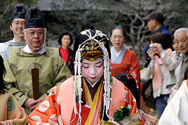 Saio dai, main character of the Aoi Festival, with extremely expensive Kimono, going to a Shinto ceremony in the Kamigamo Shrine, Kyoto, Japan, Asia