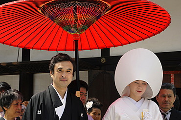 Bride and groom, bride with traditional hair hood in the Shimogamo shrine, Kyoto, Japan, East Asia, Asia