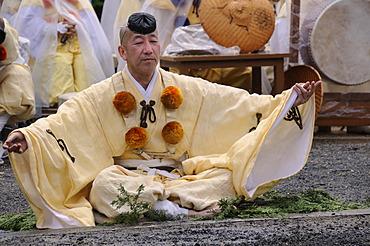 Yamabushi follower, mountain ascetics, Buddhist sect, priest invoking the deity at the fire, Iwakura, Japan, East Asia, Asia