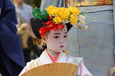 Girl in a kimono, procession to the shrine festival Matsuri, Kintano Tenmango Shrine, Kyoto, Japan, Asia