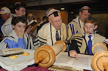 Bar Mitzvah, Jewish coming of age ritual, public reading from the Books of the Prophets, Haftarah, underground part of the Western Wall or Wailing Wall, Old City of Jerusalem, Arab Quarter, Israel, Middle East