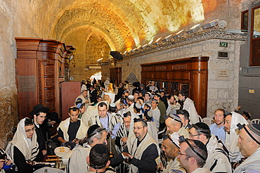 Bar Mitzvar, Jewish coming of age ritual, Western Wall or Wailing Wall, Old City of Jerusalem, Arab Quarter, Jerusalem, Israel, Middle East