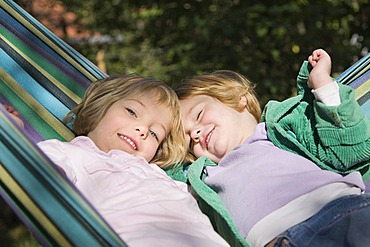 Two girls in a hammock