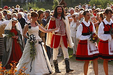 Man dressed up as the Fuerst Rakoczi and the Quellenkoenigin, queen, Rakoczi Festival, Rosengarten, Bad Kissingen, Rhoen, Lower Franconia, Bavaria, Germany, Europe