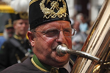 Tuba player, Narzissenfest Narcissus Festival in Bad Aussee, Ausseer Land, Salzkammergut area, Styria, Austria, Europe