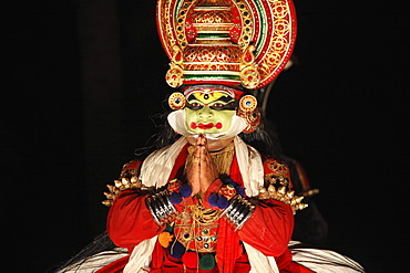 Kathakali dance, Pachcha or Pacha character, Kerala, southern India, Asia