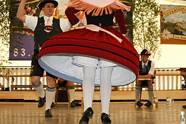 Schuhplattler, traditional folk dancers, 83rd Loisachgaufest in Neufahrn near Egling, Upper Bavaria, Bavaria, Germany, Europe
