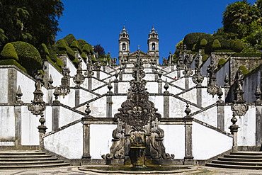 Igreja do Bom Jesus with Fonte das Cinco Chagas, Escadorio dos Cinco Sentidos, Staircase of Five Senses, Santuario do Bom Jesus do Monte, Good Jesus of the Mount sanctuary, Tenoes, Braga, Cavado, Norte, Portugal, Europe