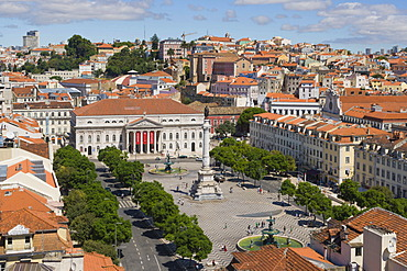 View on Rossio square, Pedro IV Square, Praca de D Pedro IV, with The National Theatre D Maria II, The Column of Pedro IV,and bronze fountains from the terrace of the Santa Justa Lift, Elevador de Santa Justa, Carmo Lift, Elevador do Carmo, Lisboa, Lisbon