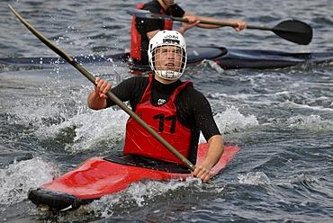 Canoe Polo players in action, 38th Kiel Week Canoe Polo Tournament, Kiel Week 2008, Kiel, Schleswig-Holstein, Germany, Europe