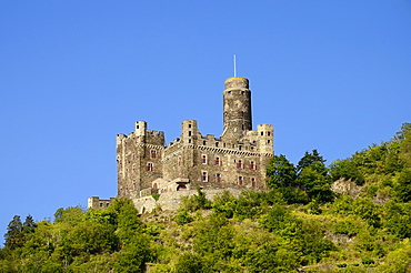Hill castle, Burg Maus Castle, St. Goarshausen-Wellmich, UNESCO World Cultural Heritage Site Upper Middle Rhine Valley, Rhein-Lahn-Kreis district, Rhineland-Palatinate, Germany, Europe