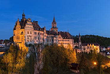 Sigmaringen Castle at dusk, Baden-Wuerttemberg, Germany, Europe