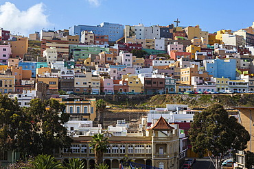 Colourful nested houses in the San Juan district, Las Palmas de Gran Canaria, Gran Canaria, Canary Islands, Spain, Europe, PublicGround