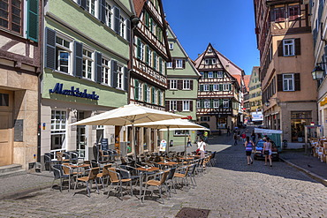 Sidewalk cafes in the historic town centre of Tuebingen, Swabian Alb, Baden-Wuerttemberg, Germany, Europe, PublicGround