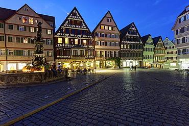 Market square with Marktbrunnen fountain, Tuebingen, Swabian Alb, Baden-Wuerttemberg, Germany, Europe, PublicGround