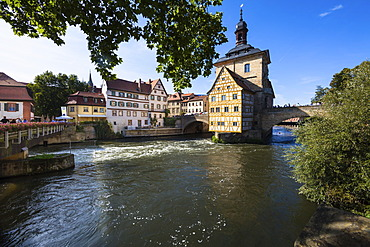 The old town hall on the Regnitz river, Bamberg, Franconia, Bavaria, Germany, Europe