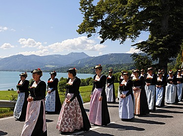 Feast of Corpus Christi procession in Gmund at Tegernsee lake, Upper Bavaria Germany